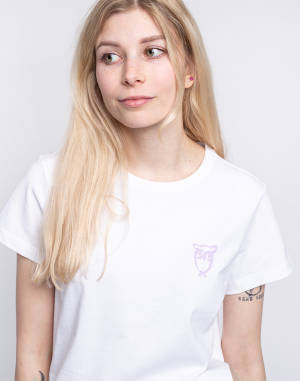 T-Shirt Knowledge Cotton Rosa Owl Print Basic Tee