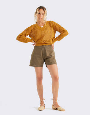 Plátěné Thinking MU Green Gardenia Shorts