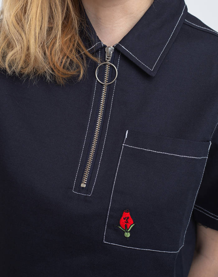 Košile Lazy Oaf Grow Your Own Roses Zip Shirt