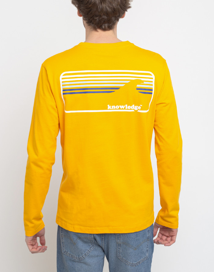 Mikina - Knowledge Cotton - Sallow Signature Wave Long Sleeve