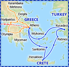 Athens & 3 Day Greek Isles Cruise itinerary