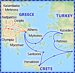 Athens & 4 Day Greek Isles Cruise itinerary