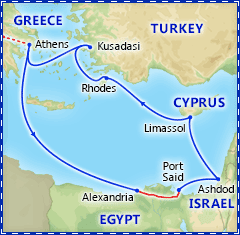 Athens & 7 Day Three Continents Cruise itinerary