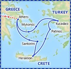 Greek Island Special: 3 Day Cruise & Athens itinerary