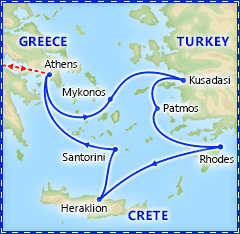 Greek Island Special: 4 Day Cruise & Athens itinerary