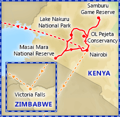 Kenya Wildlife Safari with Victoria Falls itinerary