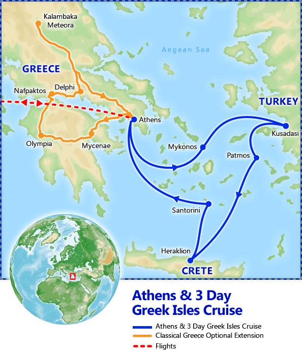 Athens & 3 Day Greek Isles Cruise map