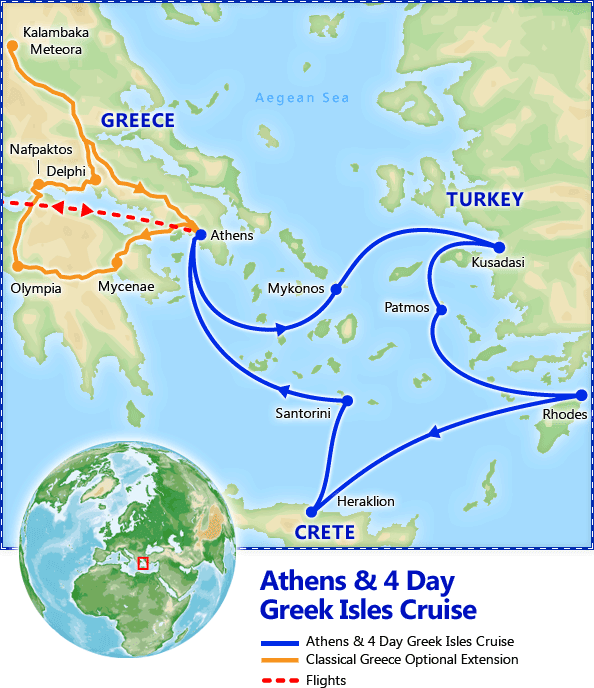 Athens & 4 Day Greek Isles Cruise map