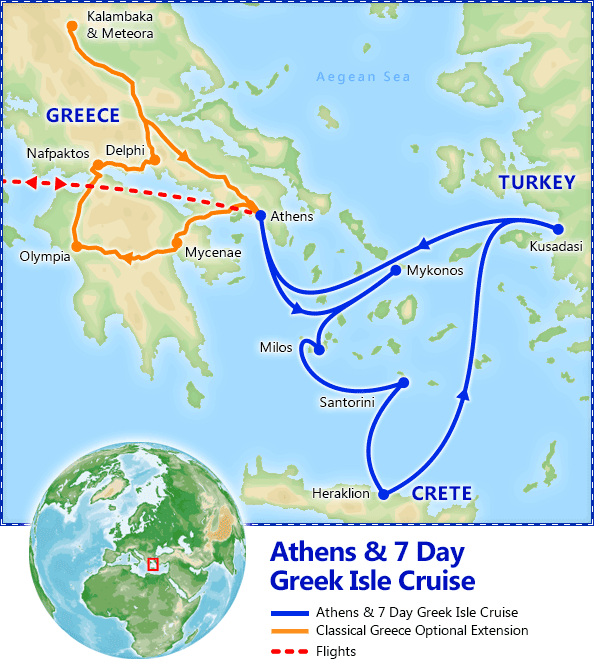 Athens & 7 Day Greek Isles Cruise map