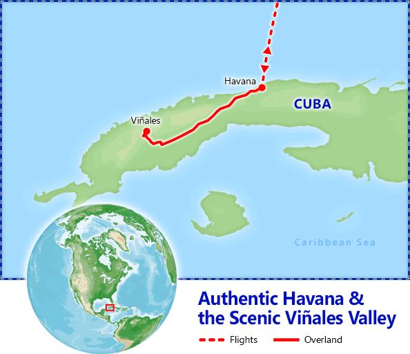 Authentic Havana & the Scenic Viñales Valley map