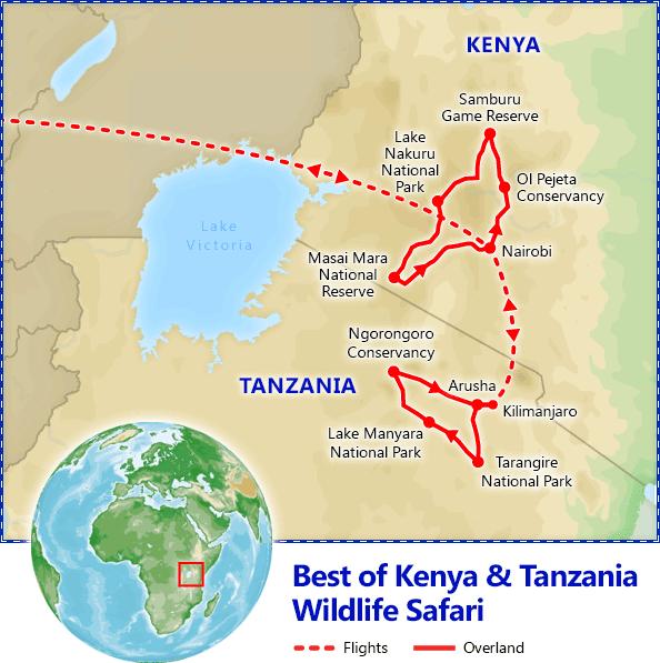 Best of Kenya & Tanzania Safari map