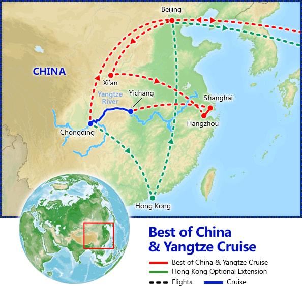 Best of China & Yangtze River Cruise map