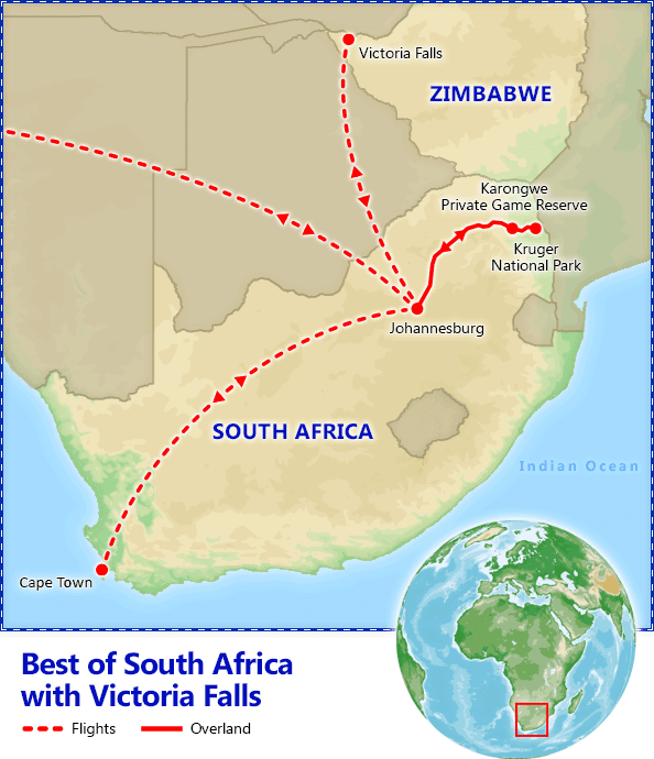 Best of South Africa with Victoria Falls map