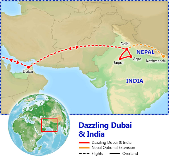 Dazzling Dubai & India map