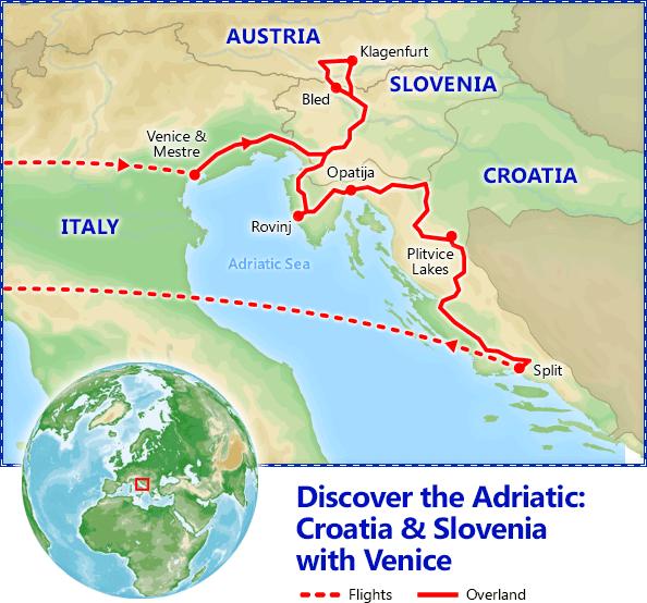 Discover the Adriatic: Croatia & Slovenia with Venice map