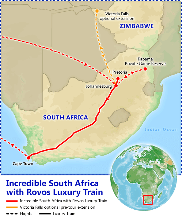 Incredible South Africa with Rovos Luxury Train map