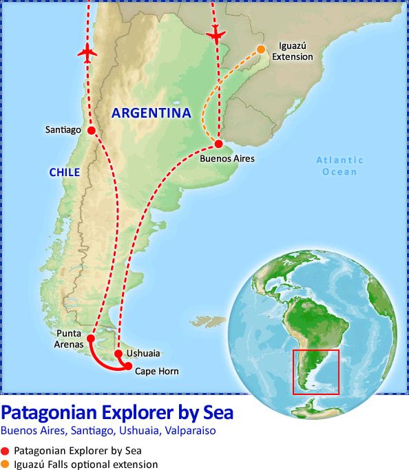 Patagonian Explorer by Sea map