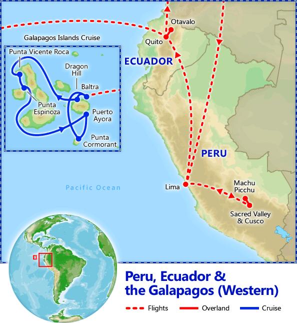 Peru, Ecuador & Galapagos Cruise map
