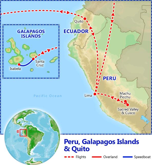Peru, Galapagos Islands & Quito map