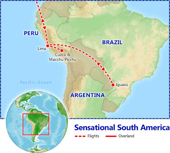 Sensational Peru & Iguazu Falls map