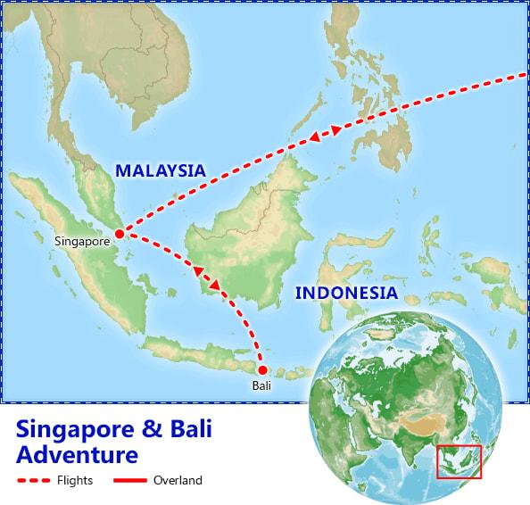 Singapore & Bali Adventure map