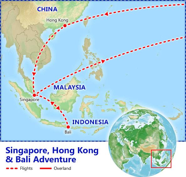 Singapore, Hong Kong & Bali Adventure map