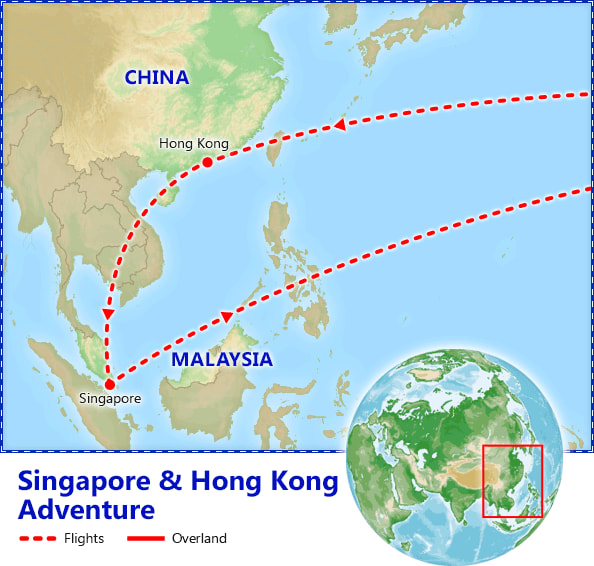 Singapore & Hong Kong Adventure map