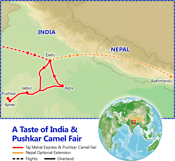 A Taste of India & Pushkar Camel Fair map