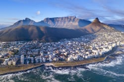 Aerial view of Cape Town with Table Mountain