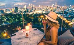 Enjoying a cocktail at the Sirocco Sky Bar, Lebua Hotel, Bangkok