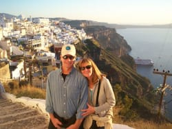 Friendly Planet travelers in Santorini