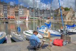 Artist painting the harbor, Honfleur photo by Pir6mon
