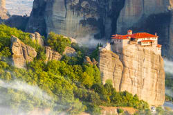 Monastery of Meteora in the early morning fog