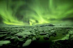Northern Lights, Jökulsárlón glacier lagoon