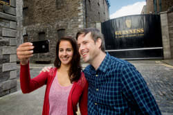 Taking a selfie in front of the Guinness Storehouse