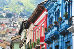 Colorful buildings of Old Town, Quito