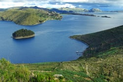 Panoramic view of Lake Titicaca