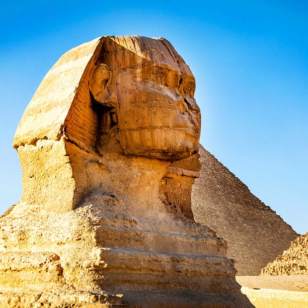 Sphinx with Pyramids