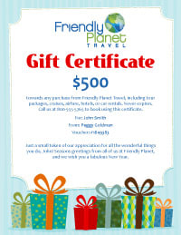 Friendly Planet gift certificates