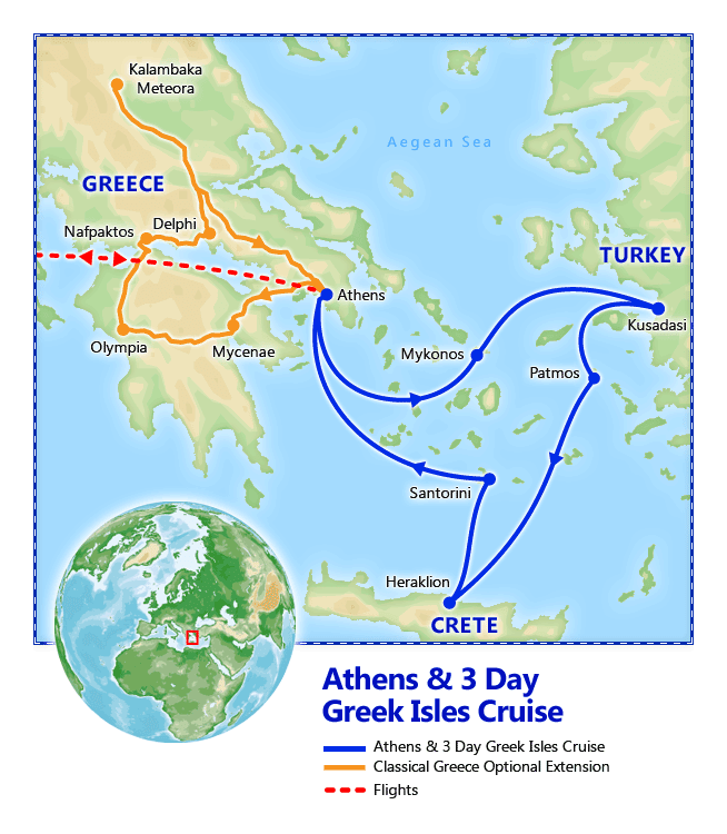 Athens & 3 Day Greek Isles Cruise map
