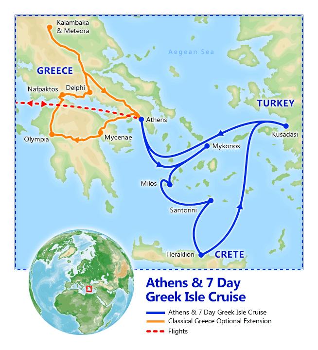 Athens & 7 Day Greek Isles Cruise map