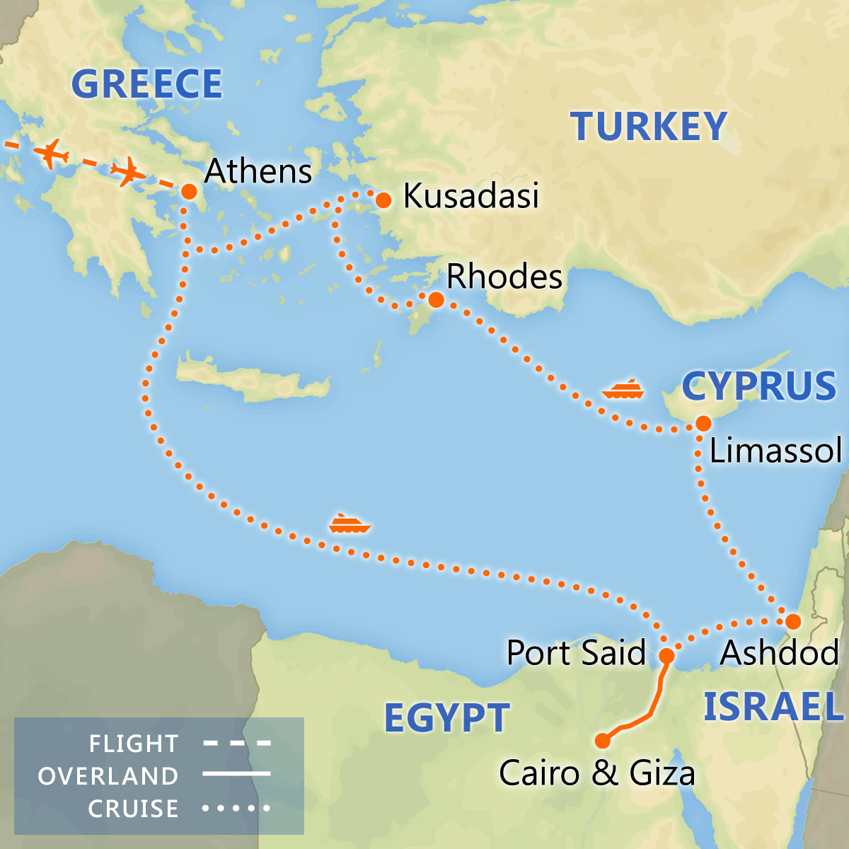 Athens & 7 Day Three Continents Cruise map