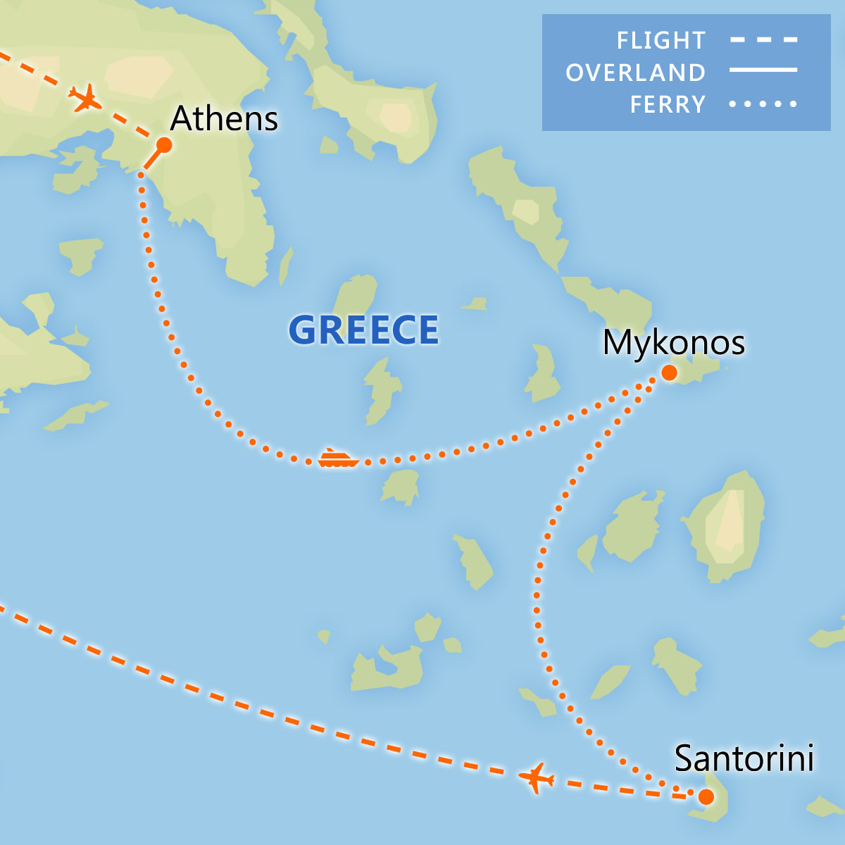 Athens, Mykonos & Santorini Adventure map