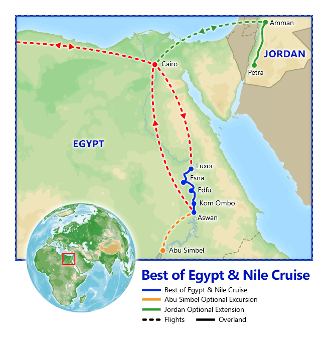 Best of Egypt & Nile Cruise map