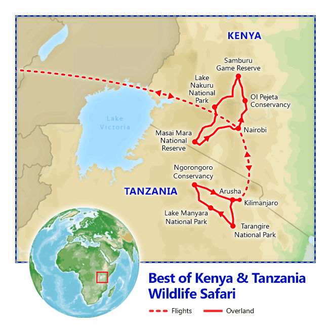 Best of Kenya & Tanzania Safari map