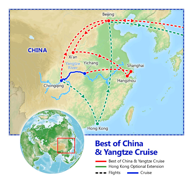 Best of China & Yangtze River Cruise map