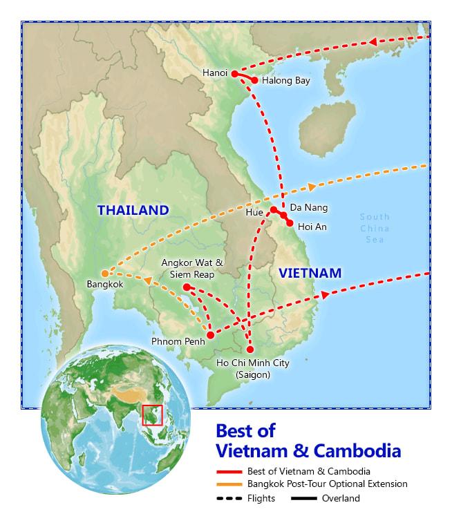 Best of Vietnam & Cambodia map