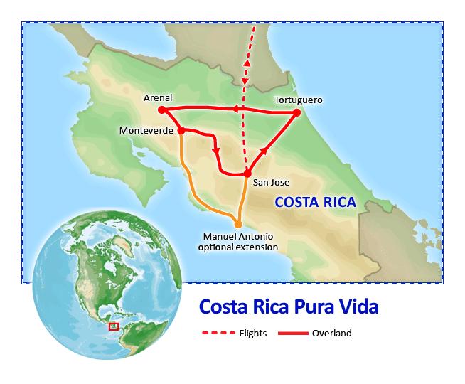 Costa Rica Pura Vida with Manuel Antonio map