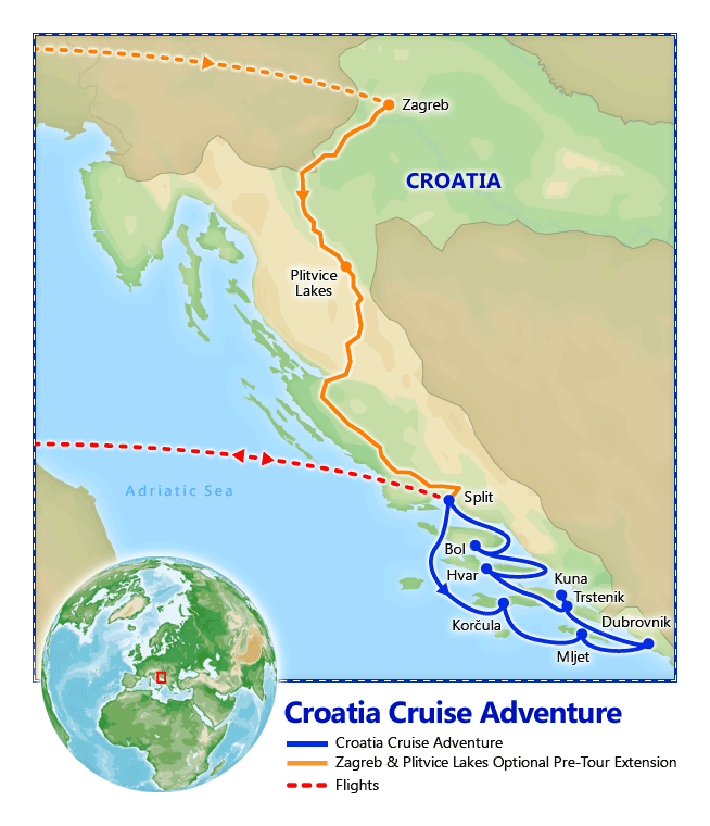 Croatia Cruise Adventure map