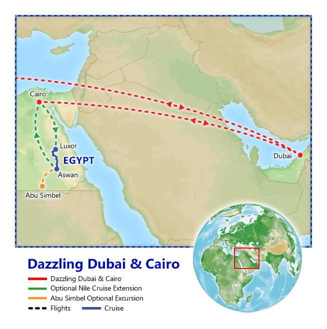 Dazzling Dubai & Cairo map
